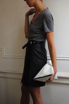 DIY Triangle Clutch / DIY Céline BERLINGOT Clutch, Helmut by Helmut Lang Tee, BLK DNM Leather Skirt | DeSmitten