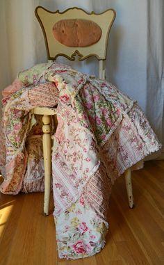 Shabby Chic Rag Quilt Rose Garden Twin Size by SeasonOfTheStitch, $495.00
