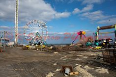 After the Storm - Fun Town Pier, Seaside Park, NJ, Photograph, Boardwalk, Ferris Wheel, Roller Coaster - pinned by pin4etsy.com