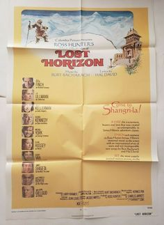 "LOST HORIZON 1972 One Sheet Original Movie Poster 27"" x 41"" Style A George Kennedy, Lost Horizon, Original Movie Posters, Columbia Pictures, Music Lyrics, Tape, The Originals, Lyrics, Song Lyrics"