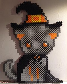 Halloween cat perler beads by perlerbeadbuzz More