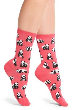 Hot Sox Panda Bears Crew Socks
