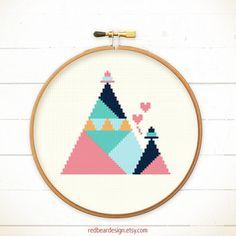 Modern Cross Stitch Mountains with Hats n Love by redbeardesign