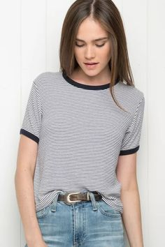 c5f0429b6b4 Summer Spring    Top- black and white stripy t-shirt with black edging