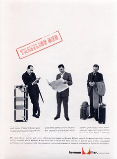 George Tscherny for Herman Miller. Advertisement featuring George Nelson, Charles Eames, and Alexander Girard 1954 Vintage Advertisements, Vintage Ads, Famous Furniture Designers, The Royal School, Alexander Girard, Vitra Design Museum, Moving To California, Branding, Charles & Ray Eames