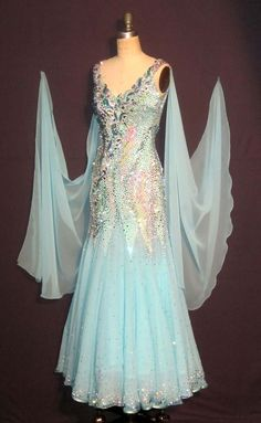 Latin Ballroom Dance Dress Modern Salsa Waltz Standard Long Dress#FM037 6 Colors
