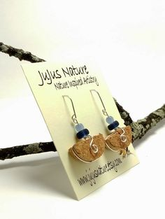 Blue Glass Beaded Wine Cork Earrings, Unique Recycled Cork Jewelry, Fun Cork Gift Idea, One of a Kind Gift for Friend by JujusNature on Etsy