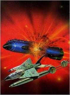 Angus McKie Space Art and Sci-Fi Illustrations Space Fantasy, Sci Fi Fantasy, Science Fiction Art, Pulp Fiction, Stargate, Trippy, Arte Sci Fi, 70s Sci Fi Art, Space Battles