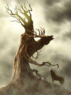 légende d'arbre et de cerf : cerforêt