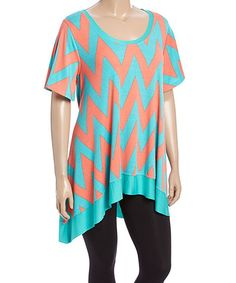 Teal & Red Chevron Sidetail Tunic - Plus