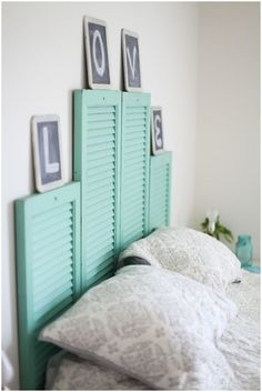 How to Upcycled DIY Headboard Ideas. Great Upcycle projects and tutorials for DIY headb. Headboards For Beds, Headboard Ideas, Headboard Alternative, Headboard With Lights, Interior Exterior, Repurposed Items, Home Bedroom, Bedrooms, Home Projects