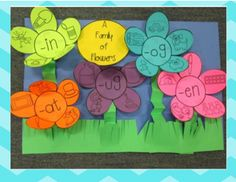 Spring Math and Literacy Centers, word family flower craftivity.