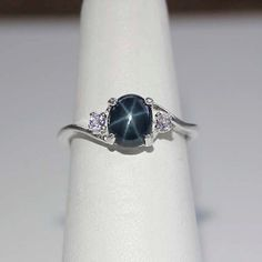 60s Vintage Linde Star Sapphire Ring 14k White By