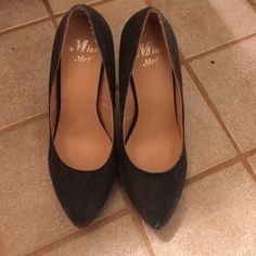 """Black denim like Miss Me pumps. These are really nice hills by Miss Me. Light black denim color, the bottom have a slip guard. The hills are 5"""". Miss Me Shoes Heels"""