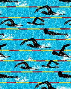 Cotton Fabric Sports Fabric Swimmers Swimming In The