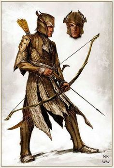 "Concept art for a Woodland realm guard from ""The Hobbit: Battle of the Five Armies"" (2014)."