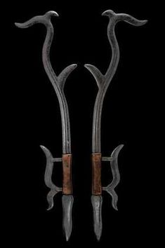"art-of-swords: "" Pair of Hook Swords (Gou) Dated: century Culture: Chinese Medium: steel, wood ""Source: Copyright © 2015 Czerny's International Auction House S."