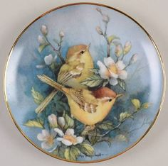Franklin Mint Carolyn Shores Wright Birds: Melody in Bloom, Winx Club China Painting, Tole Painting, Ceramic Painting, Hand Painted Plates, Decorative Plates, Decoupage Plates, Image 3d, Pintura Country, Franklin Mint