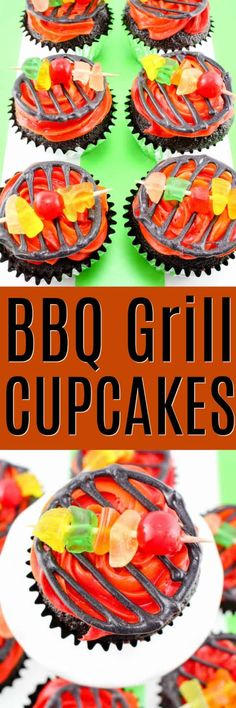 BBQ Grill Cupcakes are the perfect dessert for Father's Day or 4th of July