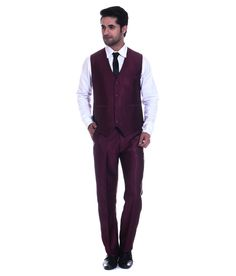 Tag 7 Maroon Poly Blend Formal Wear 2 Piece Suit