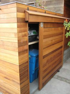 Best small outdoor storage shed doors Ideas Backyard Storage, Outdoor Storage Sheds, Outdoor Sheds, Modern Outdoor Storage, Outside Storage Shed, Outdoor Spaces, Garbage Shed, Garbage Storage, Garbage Recycling