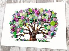 Button Art   Button Canvas   Button Picture   Button Shoe   Swarovski Crystals   Button Art Oak   Tree of Life   Button Canvas Tree  If youre pleased with the photos of my work, youre not going to believe your eyes when you see your pieces beauty, sparkle, & precision in person!  Each tree of life is 11x14, mounted to an Ampersand Hardbord that is 1/8 thick, & will arrive to you unframed in a cellophane sleeve - packed with care.  I use genuine Swarovski Crystal Rhinestones & high quality…