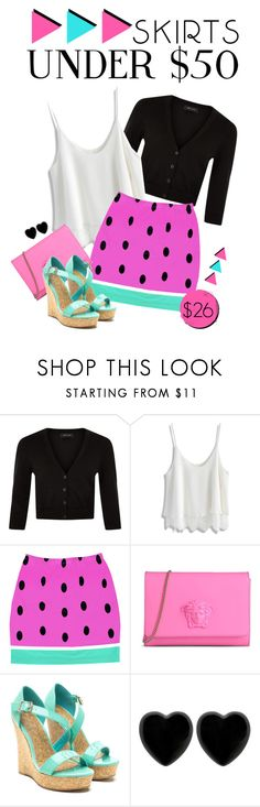 """""""under $50"""" by divacrafts ❤ liked on Polyvore featuring New Look, Chicwish, Versace, Dollydagger, Original, under50 and skirtunder50"""