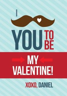 Mustache Love Valentine Exchange Cards