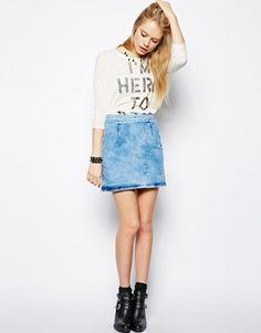 ASOS A-Line Denim Skirt in Light Blue