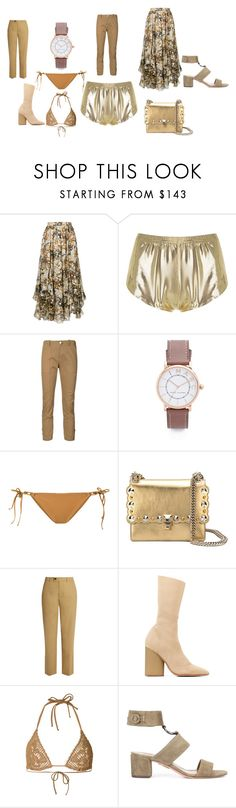 """golden opportunity dreamer"" by emmamegan-5678 ❤ liked on Polyvore featuring ADRIANA DEGREAS, Veronica Beard, Marc Jacobs, Ermanno Scervino, Fendi, Isabel Marant, Yeezy by Kanye West and Aquazzura"