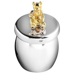 Carrs Sterling Silver Bear Honey Jar Keepsake First Tooth/Curl Box