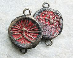 Polymer clay rustic beads, disc connectors with organic patterns in shades of red and bronze