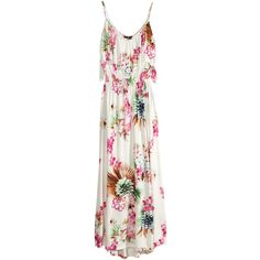 H&M Maxi dress with a frill ($26) ❤ liked on Polyvore featuring dresses, h&m, patterned, print maxi dress, ruffle maxi dresses, print dress, v neck jersey and jersey maxi dress