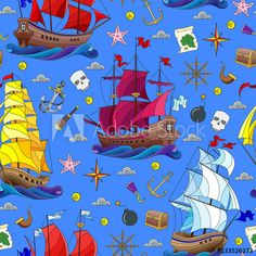 Materiał do szycia w Seamless pattern on the theme of sea travel, sailboats and ship's tackle on a blue background - CottonBee Sailboats, Blue Backgrounds, Panama, Flag, Ship, Logos, Pattern, Travel, Sailing Yachts