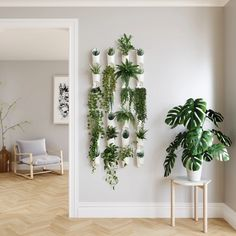 hanging plants indoor Create a green wall in your living space with an easy to use, modern and eye-catching set of wall vessels from Umbra. Introducing Floralink by Umbra. Plant Wall Decor, Indoor Plant Wall, House Plants Decor, Indoor Plants, Hanging Plant Wall, Wall Garden Indoor, Diy Wall Planter, Hanging Wall Planters, Living Room Plants Decor