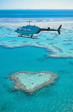 The heart of the Great Barrier Reef #travel #helicopter #heart