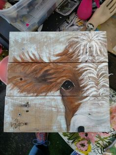 Looking for something like this for my gray and white room. Cow painting on reclaimed pallet wood. More