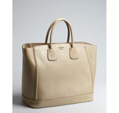 Prada beige leather logo top handle bag