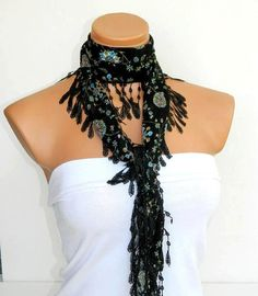 Black flower Scarf Turkish Fabric Fringed by WomanStyleStore, $14.00