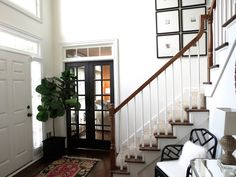 white paint is Behr White Truffle, french doors are Behr Black Suede, a warm, soft, grayed black