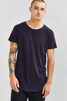 French Rib Long Loose Scoopneck Tee