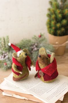 handcrafted 5 felt mr mrs santa claus christmas mice ornament pair