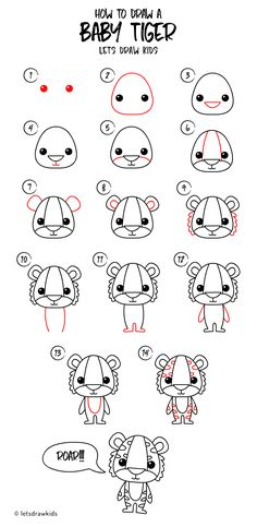 How to draw a Baby Tiger. Easy drawing, step by step, perfect for kids! Let's draw kids.