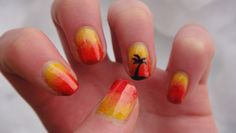 "A friend of mine is off to Florida for the break so she's sporting these super summery sunset gradient nails :)  Polishes used:  O.P.I. ""Need Sunglasses?""  Franken polish (coral)  O.P.I. ""A Roll In The Hague""  China Glaze ""High Hopes""  China Glaze ""Make an Entrance""  O.P.I. ""Skyfall""  China Glaze ""Riveting""  black acrylic  YAY #Nails #NailArt #NailDesigns"