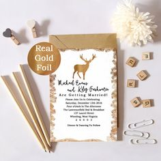 Real Gold Foil Winter Wedding Invitation