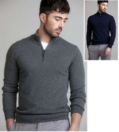 660006eb48fa Johnstons of Elgin Mens 100% Cashmere Zip Turtle Neck Sweater Style KAL3511  in LIGHT GREY