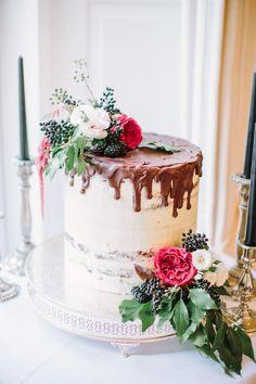 Semi Naked Cake with Chocolate & Salted Caramel Drizzle - Katy Melling Photography | Vintage wedding at Eshott Hall, Northumberland | Rosa Clara Wedding Dress | Red Flowers