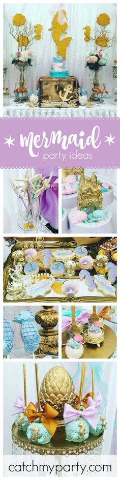 This 1st birthday Mermaid party is just so adorable! The cake pops are amazing! So much love has gone into perfect them. See more party ideas at CatchMyParty.com
