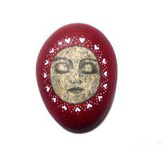 Valentine's Serenity face stone by Ludibund on Etsy, $16.00