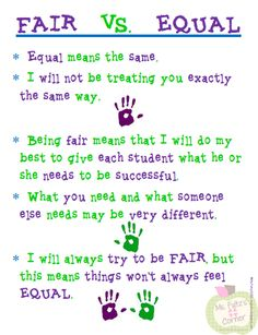 FREE Fair vs. Equal poster from Ms. Fultz's Corner. Perfect for classroom discussions about respecting differences. Great for classroom management too.